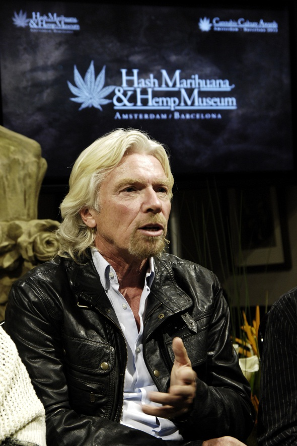 Richard Branson, spreekt in de nieuwe Hemp Museum Gallery in Barcelona, 9 mei 2012