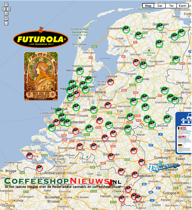 """Dutch Coffeeshop Tourist Tolerance Map"" (© Coffeeshopnews.nl)"